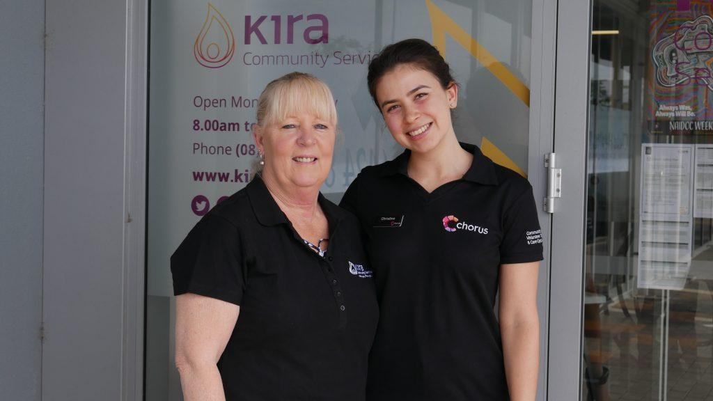 Picture of Kira staff member and Chorus staff member looking happy