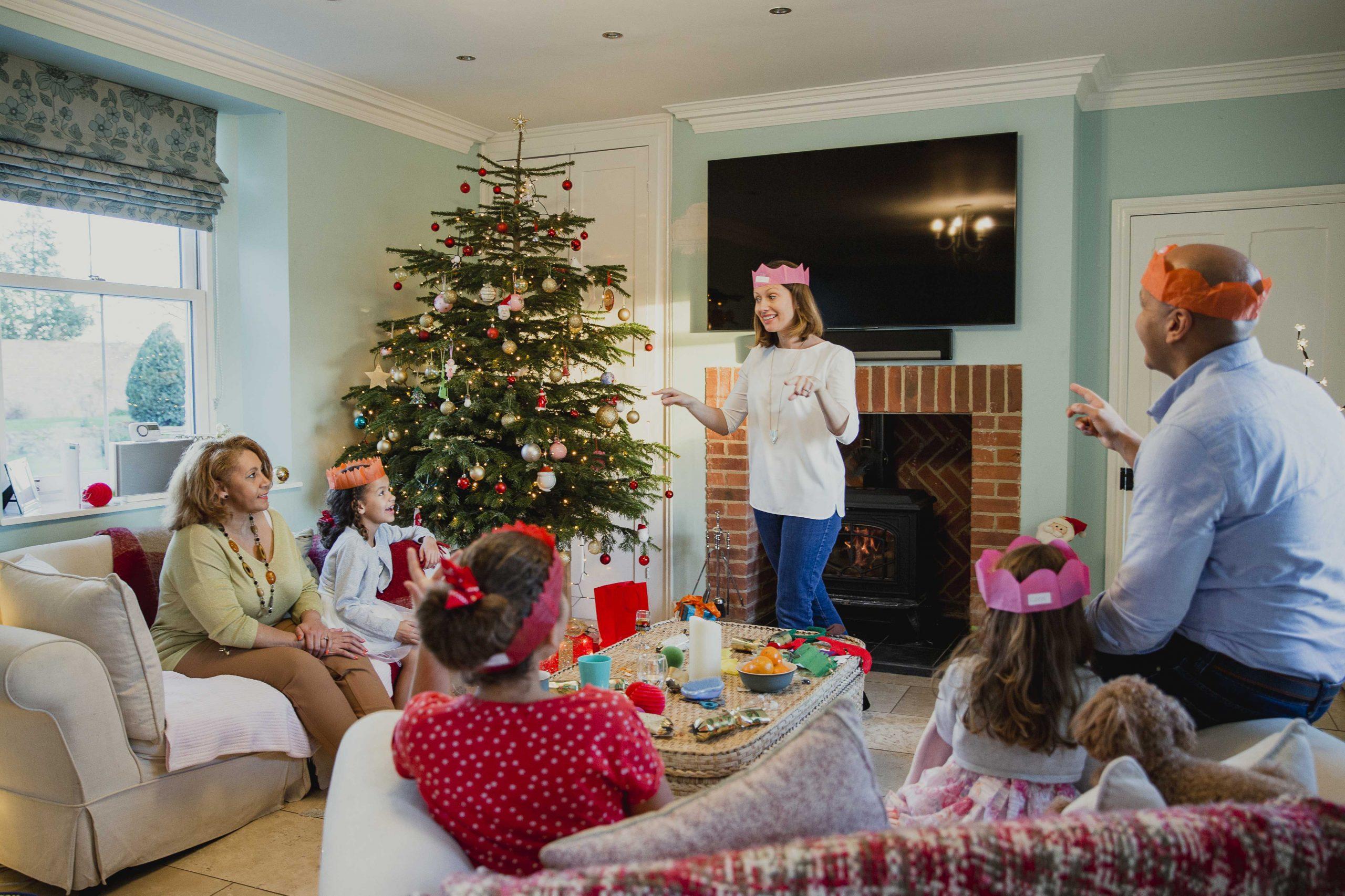 Family playing Christmas games